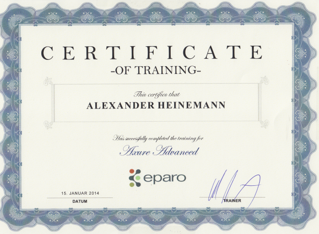 Axure Zertifikat