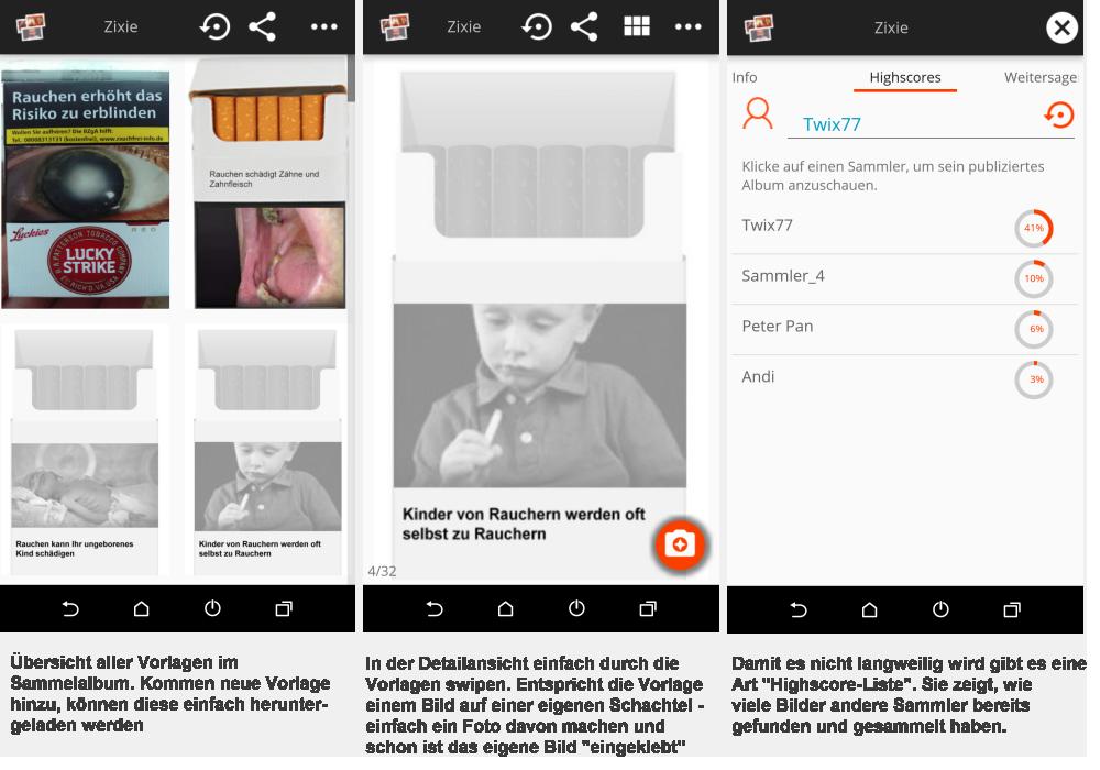 Sammelalbum für Zigarettenschachtel-Bilder als App